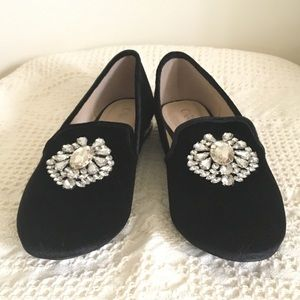 BRAND NEW Black Velvet Loafer with Jewel Accent
